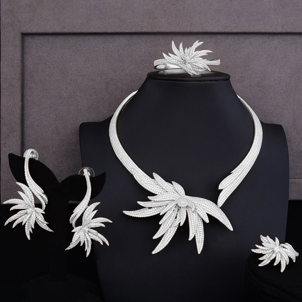 SisCathy breloques chaudes feuille de palmier ensembles de bijoux pour les femmes zircon cubique CZ tour de cou nigérian Dubai mariage ensembles de bijoux de mariée