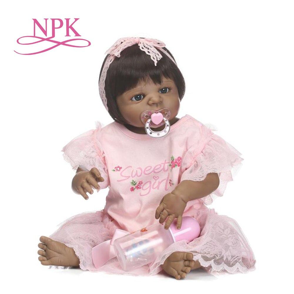 NPK56CM pełna silikonowa symulacja noworodka dziewczynka z czarna skóra bebe boneca reborn silikonowe lalki dla dzieci Afrincan amerykańska lalka w Lalki od Zabawki i hobby na  Grupa 1