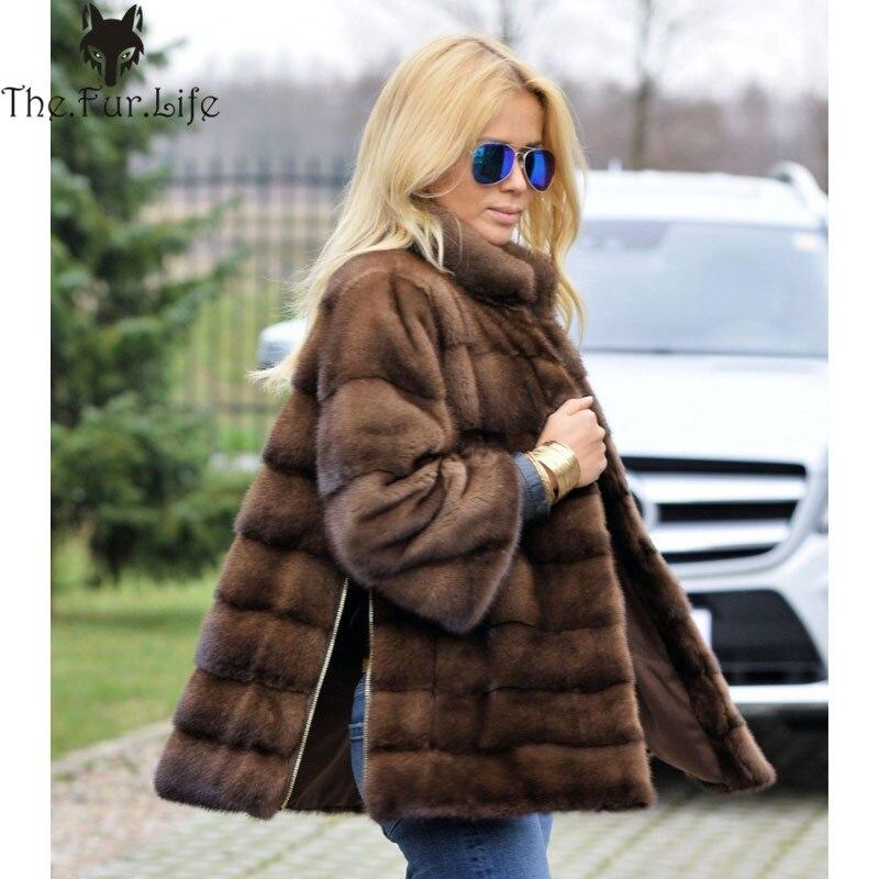 2018 новый стиль Полный Пелт натуральный норковый мех пальто для женщин теплый воротник стойка боковая молния меховые куртки рукав съемный о...