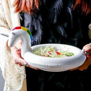 Image 4 - クリエイティブフラミンゴ雪だるまボウルボウルユニコーンスナックプレート黒白鳥スナックプレートアイスクリームヨーロッパスタイルのフルーツ皿