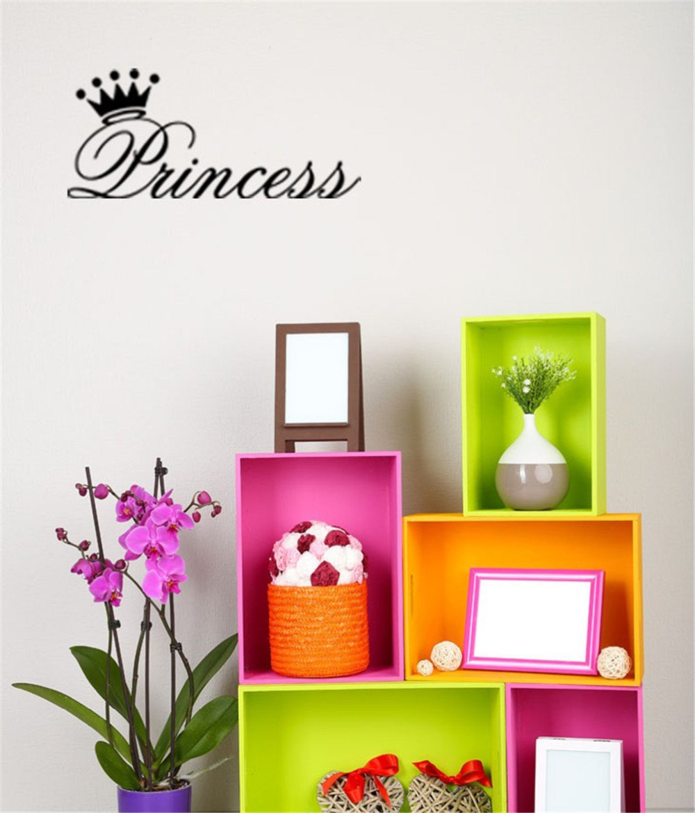 Princess Crown office room home decoration PVC black Wall Stickers