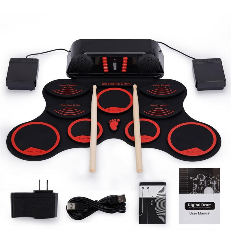Portable Electronic Drum Digital USB 9 Pads Hand Roll up Drum Set Silicone Electric Drum Pad Kit With Drumsticks Foot Pedal