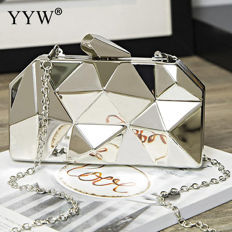 Silver Geometric Relief Clutch Bag for Women Brand Luxury Women's Evening Party Handbags Gold Lady's Chain Shoulder Bag 2018 clutch bag red party bag for women brand luxury blue evening bags women s baguette handbags chain crossbody shoulder bag