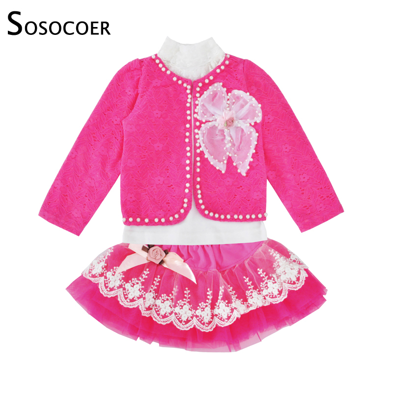 SOSOCOER Girls Clothing Set Spring Autumn Lace Coat Long Sleeve T Shirt Skirt 3pcs Outfits Kids Baby Girl Clothes Outfits Sets baby girl clothes set floral long sleeve t shirt skirt 2 pcs sets toddler girls infant spring autumn clothing suit kids outfits