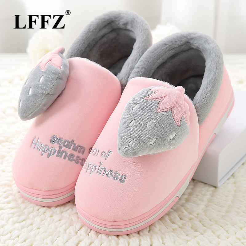 Lzlzzf 2018 Winter Warm Cute Cartoon Home Slippers Women Shoes House Indoor Bedroom Fluffy Woman Slippers Fur Slides Pantufa big size44 warm home slippers women bedroom winter slippers cartoon slippers fur slides autumn lovers female indoor soft bottom