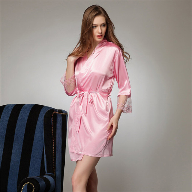 8793da4d2 2017 Pink Short Silk Kimono Robe Satin Kimono Robes for Women Silk Dressing  Gown Wedding Bridesmaid Spa Bath Robes for Women 740