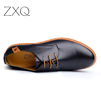 2019 Leather Casual Men Shoes Fashion Men Flats Round Toe Comfortable Office Men Dress Shoes Plus Size 38-48 1