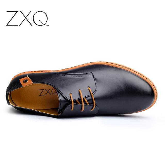 2019 Leather Casual Men Shoes Fashion Men Flats Round Toe Comfortable Office Men Dress Shoes Plus Size 38-48 1