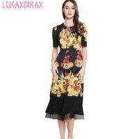High Quality 2017 New Women Runway Dress Retro Flowers Fashion Classic Style Slim Silk Dress Casual