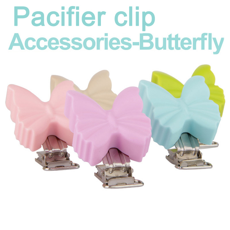 50 Pcs Multicolor Butterfly Shape Baby Pacifier Chain Clips Silicone Metal Pacifier Clip Baby Accessories50 Pcs Multicolor Butterfly Shape Baby Pacifier Chain Clips Silicone Metal Pacifier Clip Baby Accessories