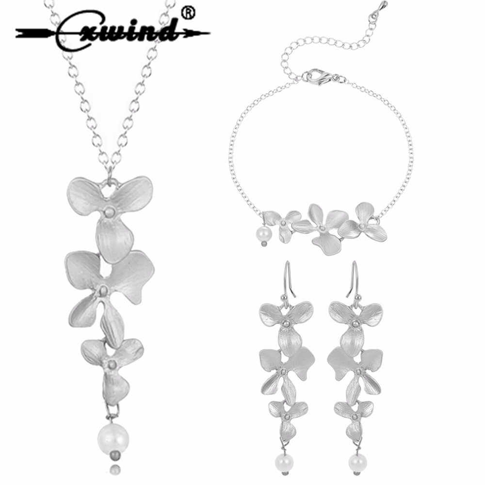 Cxwind 3pcs Orchid Flower Bridal Wedding Jewelry Set New Arrival Luxury Lotus Necklace Earrings Bracelet Party joyas bijoux