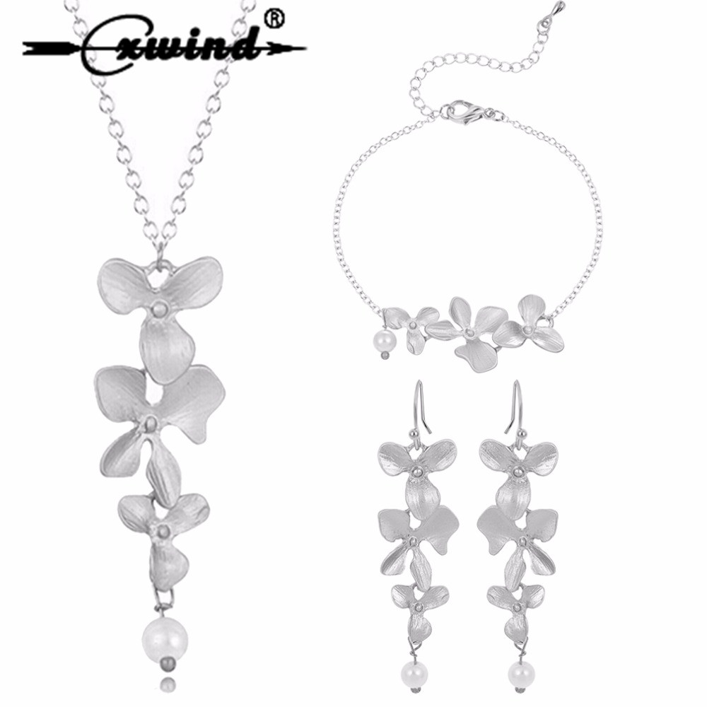 Cxwind 3pcs Orchid Flower Bridal Wedding Jewelry Set New Arrival