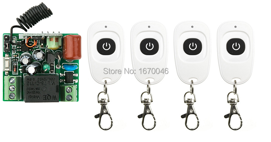 latest  AC220V 1CH Wireless Remote Control Switch System  teleswitch Receiver & 4pcs one-button waterproof Remote 315mhz/433mh wireless pager system 433 92mhz wireless restaurant table buzzer with monitor and watch receiver 3 display 42 call button