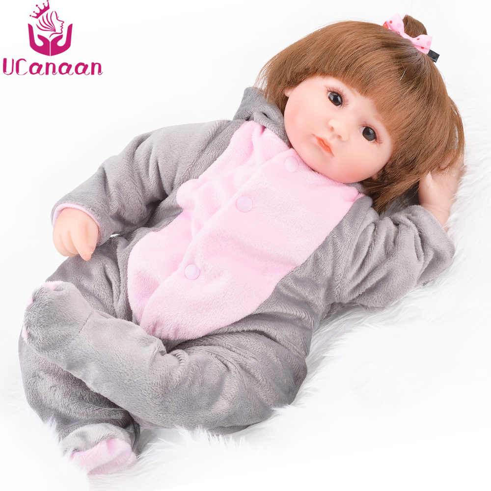 UCanaan Silicone Reborn Doll Handmade Soft Cloth Body Dolls Newborn Baby Alive Realistic Born Kids Playmate Toys 18''45cm ucanaan 1 3 bjd doll reborn girls dolls 19 jointed body chinese style maxi long dress wig makeup dressup diy sd kids toys
