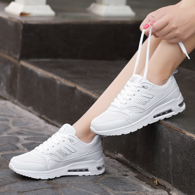 Dropship New 2017 basket femme breathable sports shoes female air cushion small white shoes women walking running shoes max size