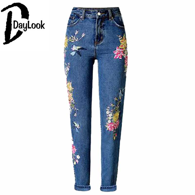 DayLook 2017 Street Style Skinny Jeans High Waist Embroidery Denim Jeans Light Wash Floral And Bird Print Pencil Pants Slim Fit black white side striped details high waist sculpt denim jeans street wear fashion bleached wash denim butt lifting skinny pants