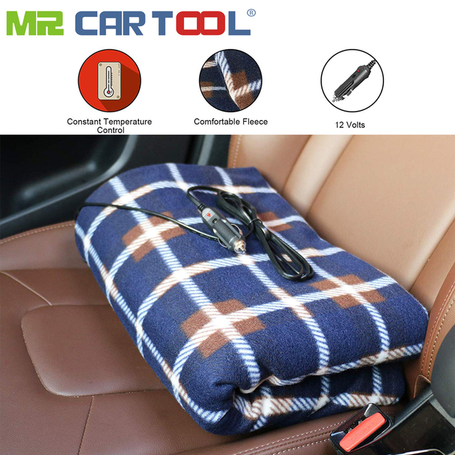 Mr Cartool Electric Heated Car Blanket 12v Portable Fireproof Travel Fleece Campingtrip Cigarette Lighter