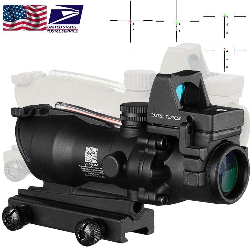 Lunette de visée optique Trijicon ACOG 4X32 avec réticule CAHEVRON fibre optique rouge vert avec Mini viseur à point rouge RMR