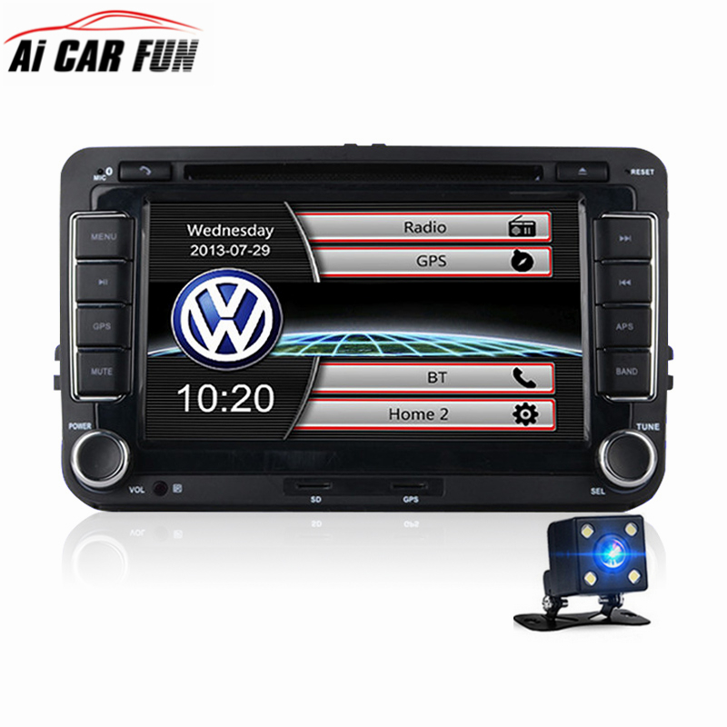 2 Din Car DVD GPS Navigation Radio Stereo Player for Volkswagen VW Golf 6 Touran Passat B7 Sharan Touran Polo Tiguan 7 Inches original new den so dvd navigation mechanism rae3370 for toyo ta b9004 b9001 vw mercedes lexuss audi 2g car audio gps