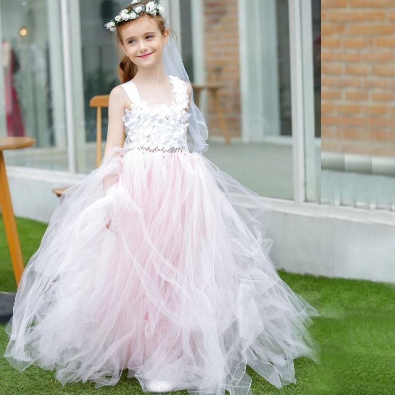 все цены на White Pink Flower Girl Dresses Ball Gown Sleeveless Formal Appliques Paegant Communion Gowns Vestidos Longo Any Size онлайн