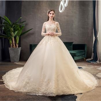 Mrs Win Champange Muslim 2021 Wedding Dress With Luxury Train Full Sleeve Lace Ball Gown Vestido De Noiva X - discount item  31% OFF Wedding Dresses