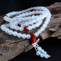 Factory Handmade Jewelry Natural Agate Beads Ice White Chalcedony Agate Elastic Beaded Fashion Multilayer Onyx Rosary