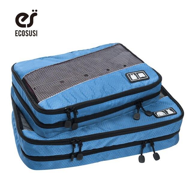 Ecosusi 2 unids/set cubos de embalaje para ropa ligera de equipaje bolsas de viaje de nylon para camisas de los organizadores bolso de lona impermeable
