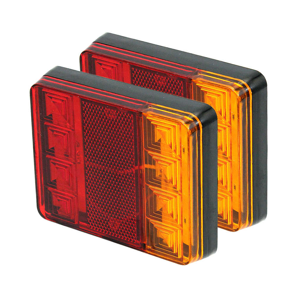 2pcs ANBLUB Waterproof 8 LED Tail Light Warning Lamps 12V Rear Tail Brake Light Assembly for Truck Trailer Vans Lorry Bus