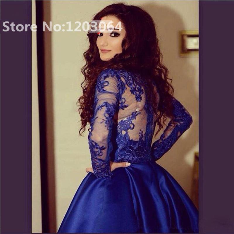 2016 rubor satén azul vestido corto de baile con encaje apliques de ...