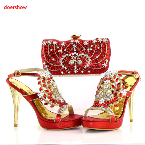 doershow Latest Design Matching Italian Shoe and Bag Set.royal Blue Wedding and Party African Shoes and Bag Set for ladyPAB1-21