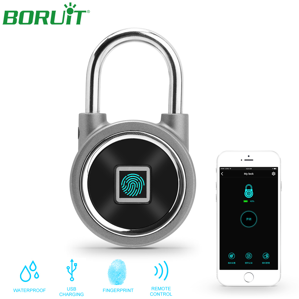 Serrure intelligente BT serrure biometrique D'empreintes Digitales Reconnaissance Téléphone Déverrouiller APP USB Rechargeable Sans Clé Étanche Anti-Vol