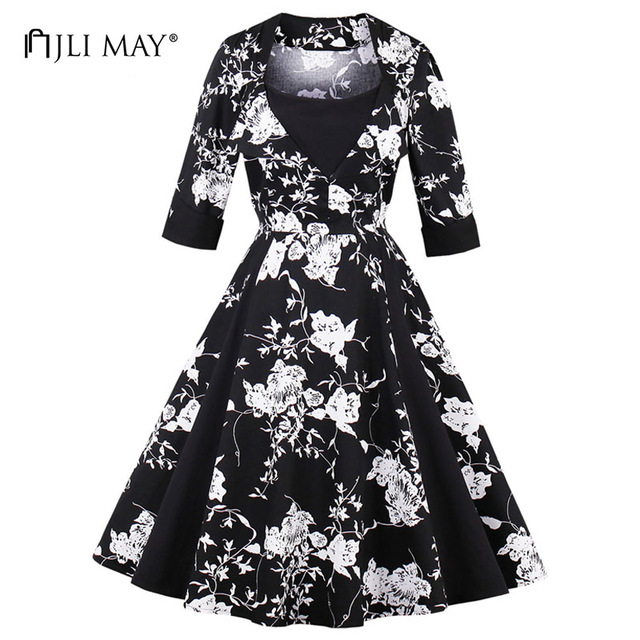 JLI MAY Autumn vintage floral dress women half sleeve o-neck patckwork midi  retro elegant office work party plus size dresses 9d5bea4d4a13