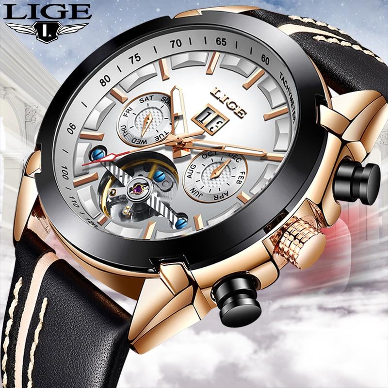 LIGE hommes montres Top marque de luxe automatique mécanique montre en cuir étanche Sport montre hommes Date entreprise horloge Reloj Hombre