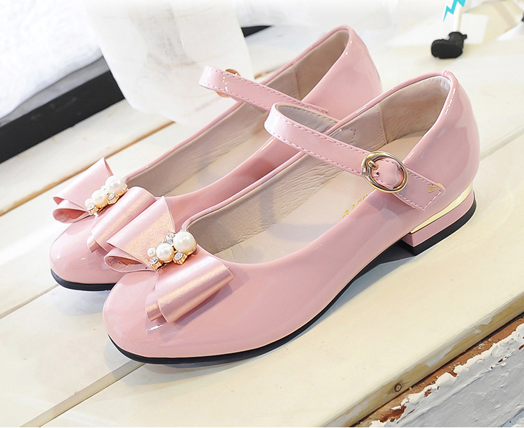 2020 Girls Shoes High Quality Japanned Leather Flats Girls Butterfly-knot Crystal Princess Leather Shoes обувь для девочек