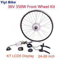 36V 350W Brushless Motor Wheel Front 26 inch Electric Bike Conversion Kit, KT LCD5 Display, DC Motor Controller Thumb Throttle