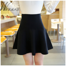 wmwmnu 2017 new Spring Autumn fashion Knitted Skirts Women Casual Elastic Flared Skirt Female Short Woman Ball Gown
