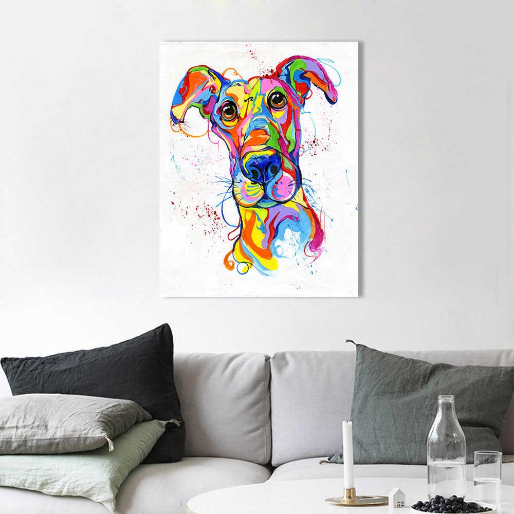 HDARTISAN pared arte lienzo pintura colorido Animal Whippet perro imagen aceite impreso para sala de estar decoración del hogar sin marco
