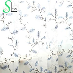 Image 3 - אמריקאי סגנון עלים רקום וילון חלון Tull Volie מסך וילונות עבור שינה Cortinas Para Sala De Luxo CL 86