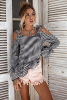 Fashion tie knot cotton blouse loose shirts women blusas Spring Plaid Casual Flare Sleeve strappy top tees