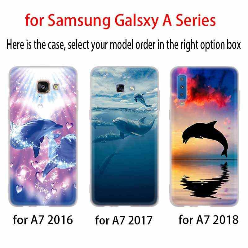 Belle Dauphin étui Silicone housse de Téléphone Pour Samsung A50 A70 A80 A30 A40 A90 A6 A8 A9 A7 A5 A3 Plus 2018 2017 2016 Étoile