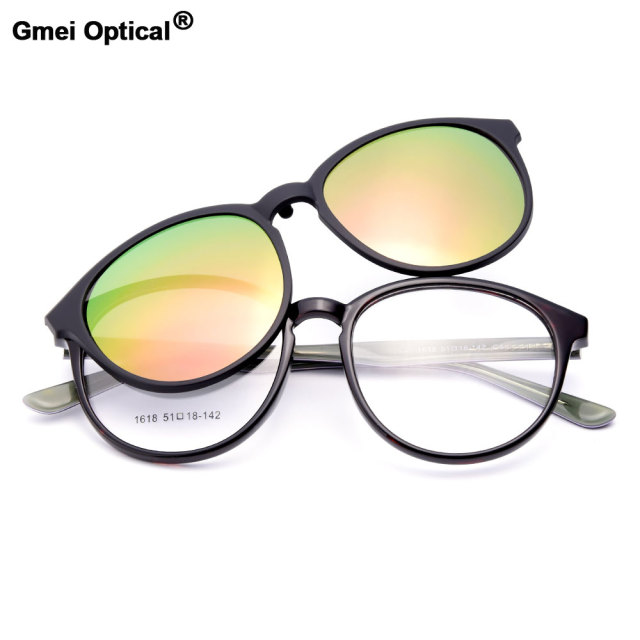 Gmei Optical 1618 Urltra-Light TR90 Eyeglasses Frame with Polarized Clip-on Sunshades for Women and Men Eyewear