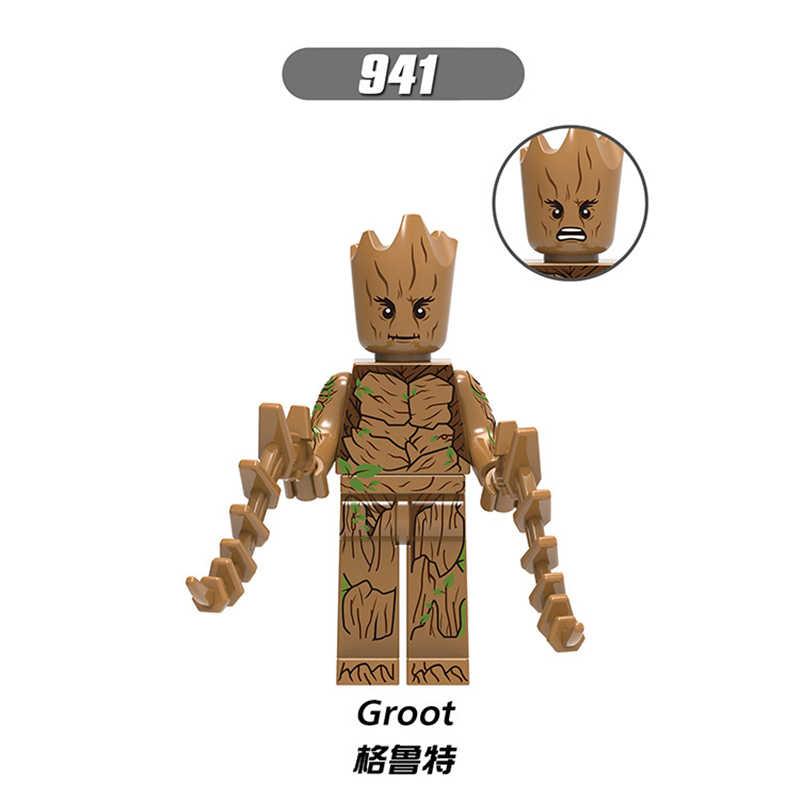 Diy Blocks Marvel Iron Man little tree man Iron Monger Nick Fury Hawkeye  Black Widow Corvus Glaive Legoingly Bricks Kids Toys
