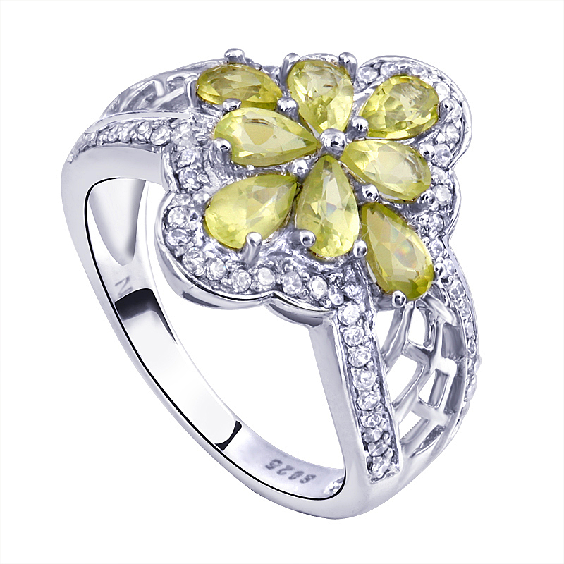 Natural Peridot Ring 925 Sterling Silver Green Flower Woman Fashion Fine Elegant Retro Jewelry Girl Lux Birthstone Gift sr1347p natural green peridot ring 925 sterling silver crystal rose gold plated woman fashion fine elegant jewelry queen birthstone gift