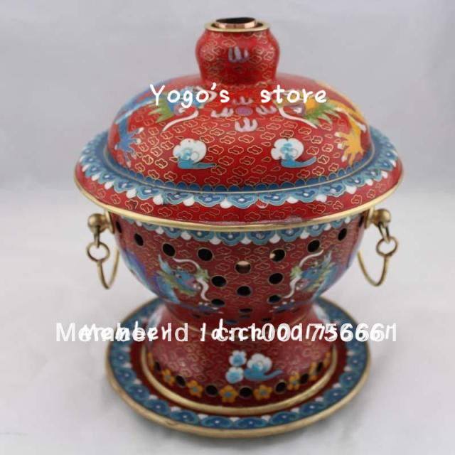 18cm China cjewelry enamel copper hot pot thickened Chinese Cloisnne charcoal copper fondue pot copper handmade Copper cooking