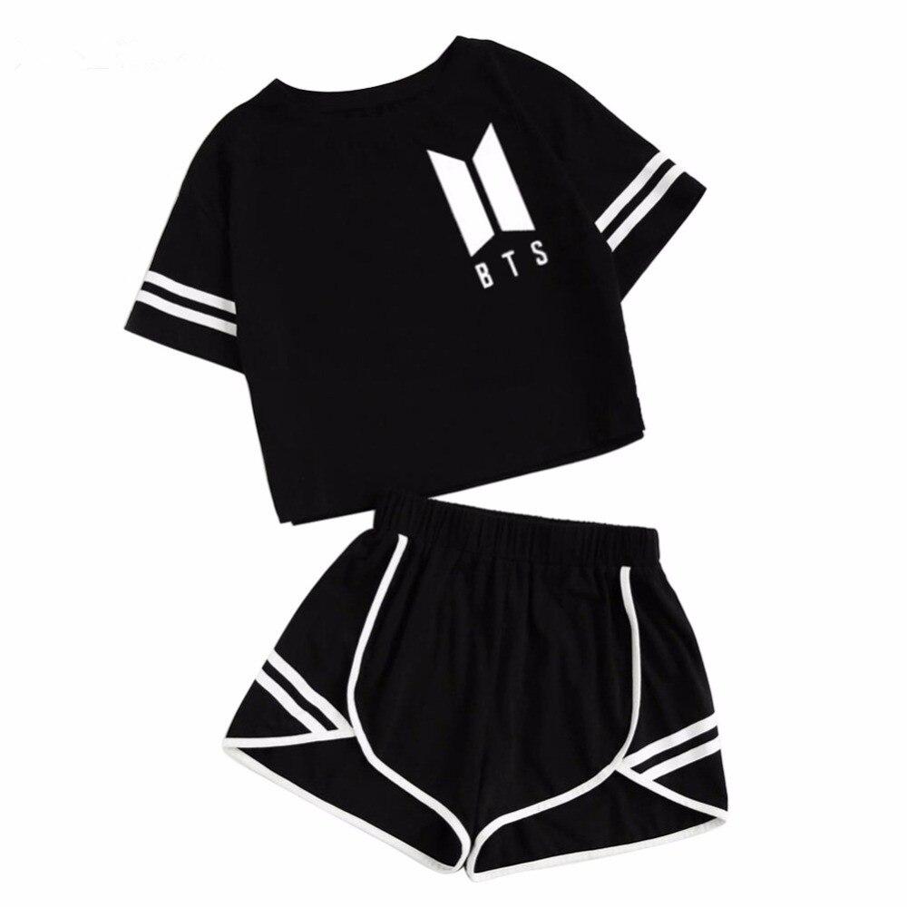 2020 New Summer Cotton Striped Women's Tracksuit BTS Clothes Set Woman Leisure Suits Shorts Crop Tops+Shorts Pants 2Pcs Outfits