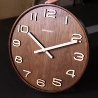 Not Reflective 14 Inch Simple Design Bamboo Wall Clock Clocks Watch Saat Creative Living Room Study Time Bar Wall Clock No glass