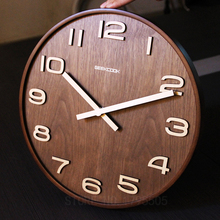 Not Reflective 14 Inch Simple Design Bamboo Wall Clock Clocks Watch Saat Creative Living Room Study Time Bar Wall Clock No glass