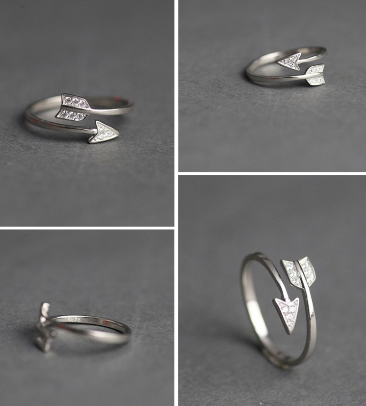 Silver Plated Arrow crystal rings for women  3