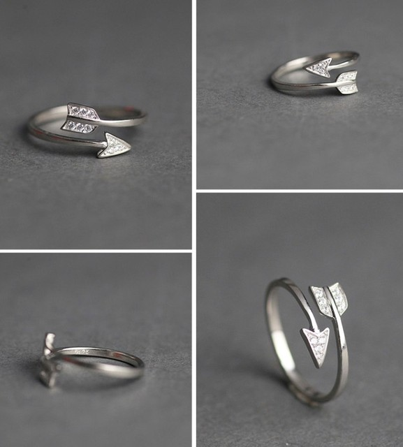 Fashion Silver Plated Arrow Crystal Rings For Women Adjustable Engagement Ring