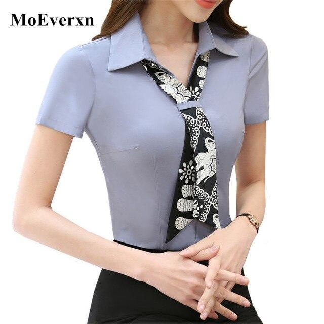 75f81d8fe8f599 2017 Novo e elegante mulheres lenço de chiffon blusas de colarinho slim-manga  curta escritório